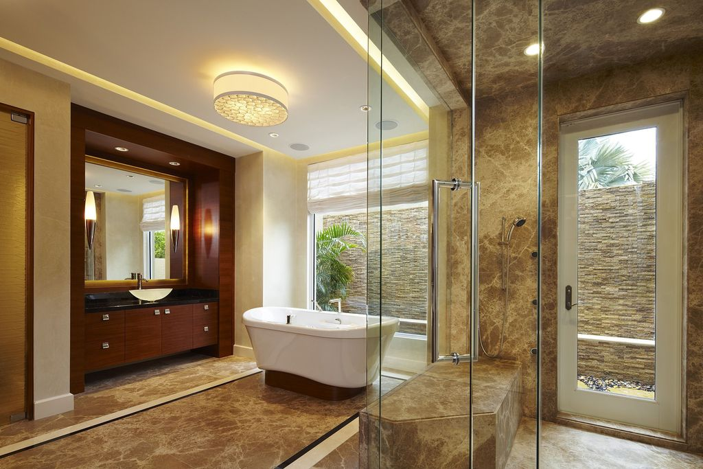 Contemporary Master Bathroom with Custom Frameless Shower, Springfield Linen Shade Ceiling Light, Paint