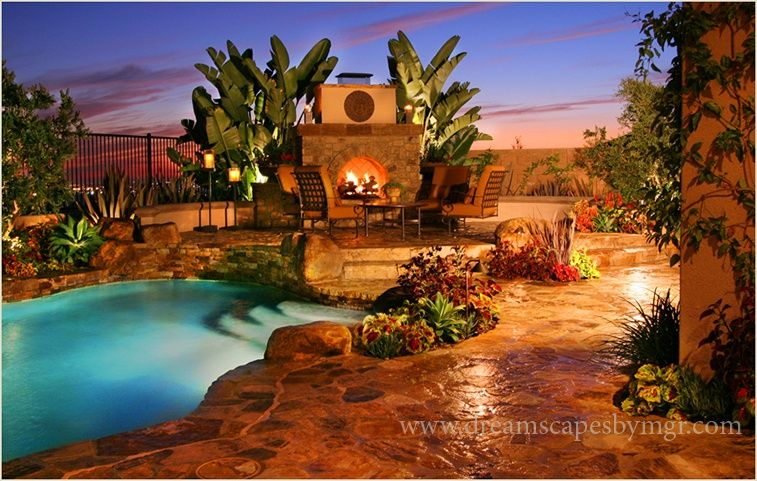 Tropical Swimming Pool with exterior stone floors, Other Pool Type, Fence