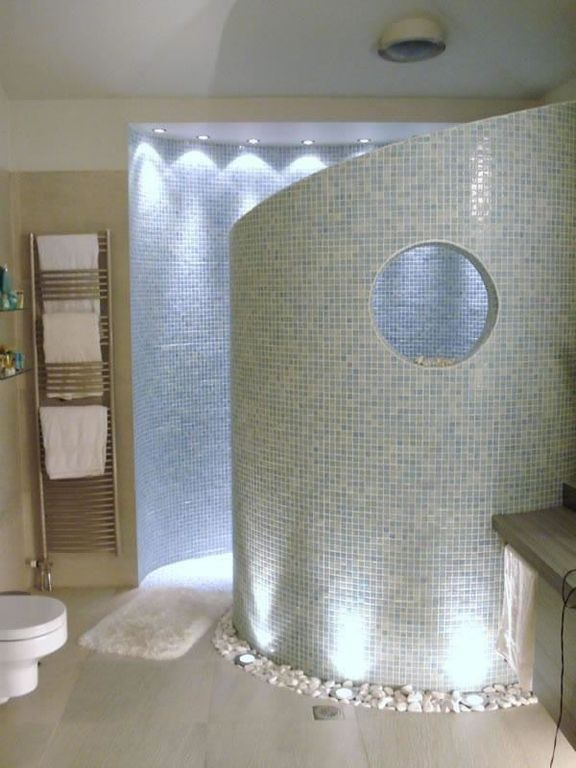 Modern Master Bathroom with Daltile st. moritz cl65, Paint, Glass tile mosaic, mini can lights, White glass pebbles