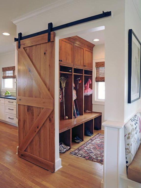 Country Mud Room with Dupont corian deep night sky, Custom barn door room divider reclaimed pine barn door