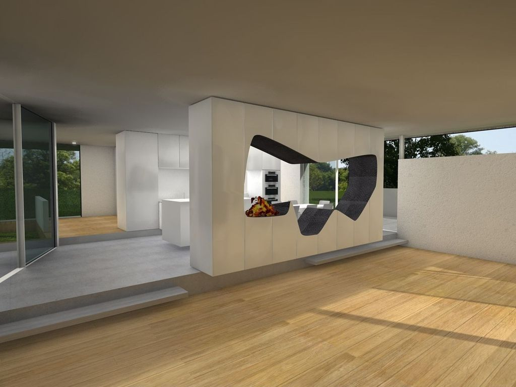 Contemporary Living Room with Paint, Birch flooring
