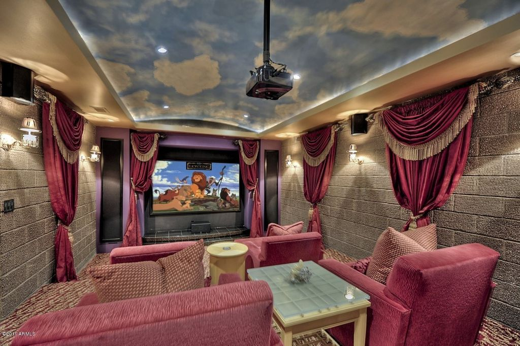 Traditional Home Theater with Carpet, Wall sconce