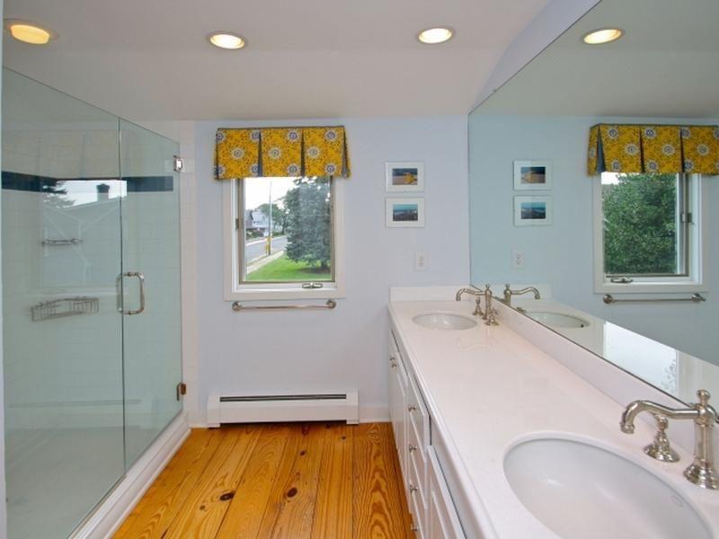 Eclectic 3/4 Bathroom with Double sink, Framed Partial Panel, Standard height, partial backsplash, frameless showerdoor