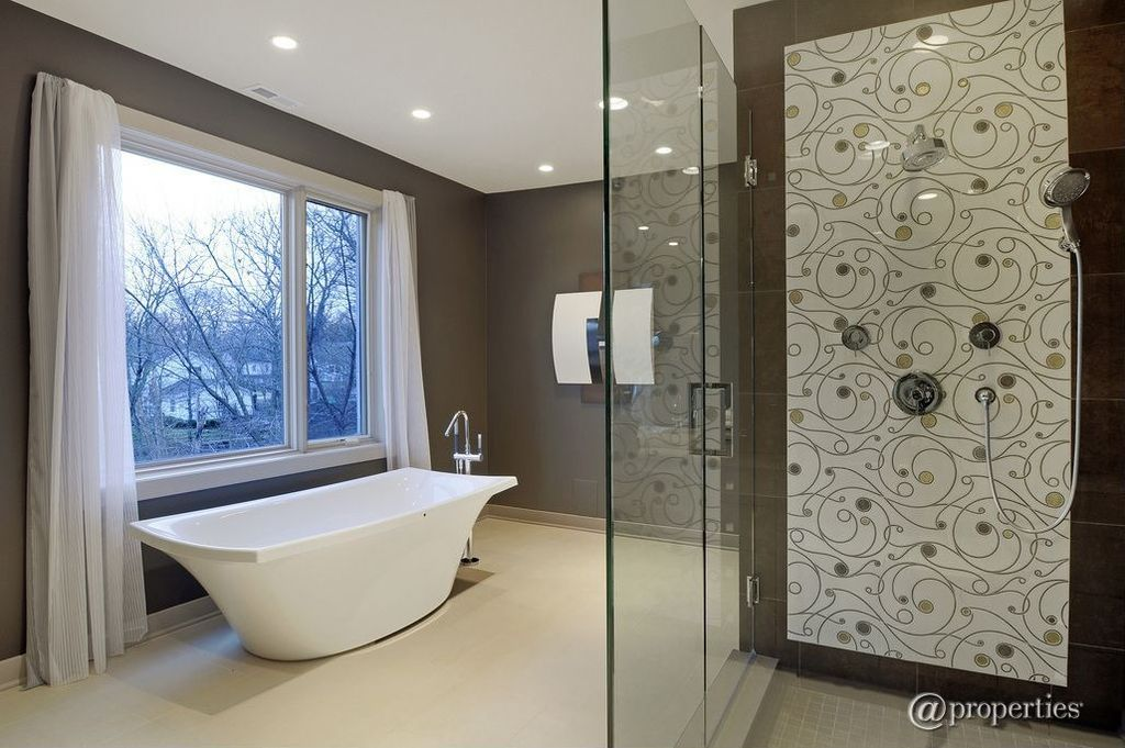 "Contemporary Master Bathroom with Shower, Concrete floors, Master bathroom, Signature hardware - 67"" albrighton acrylic tub"