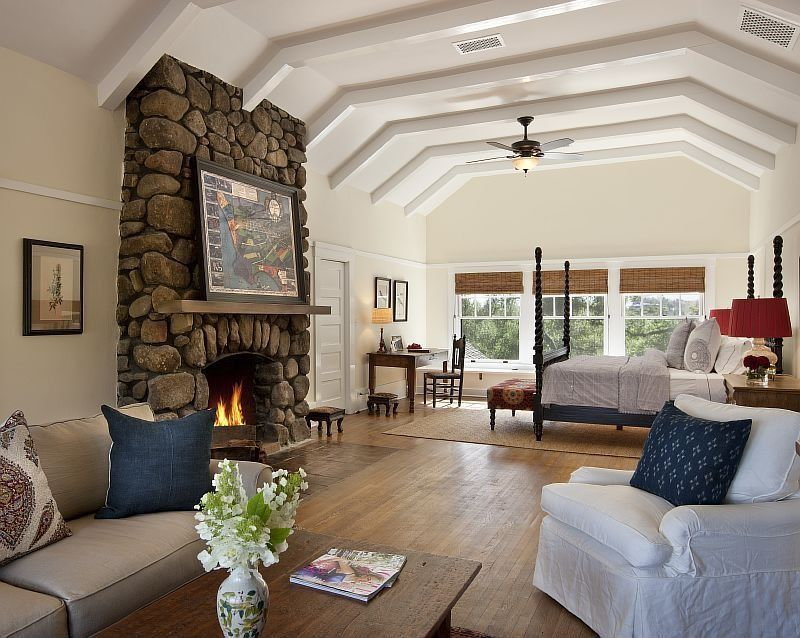 Eclectic Master Bedroom with Exposed beam, Rizzy home pillow cover with filler insert, Paint 2, Custom Stone Fireplace