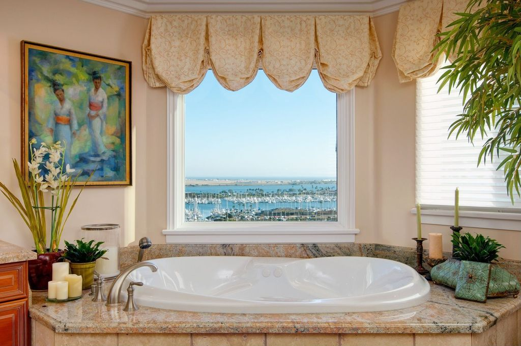 Traditional Master Bathroom with Master bathroom, Raised panel, Casement, High ceiling, Simple granite counters, Flush