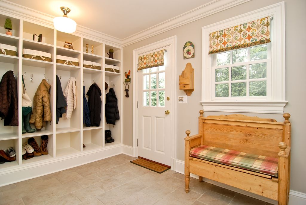 Traditional Mud Room with Barnwood deacons bench, Paint 1, flush light, Crown molding, Casement, Paint 2, Glass panel door