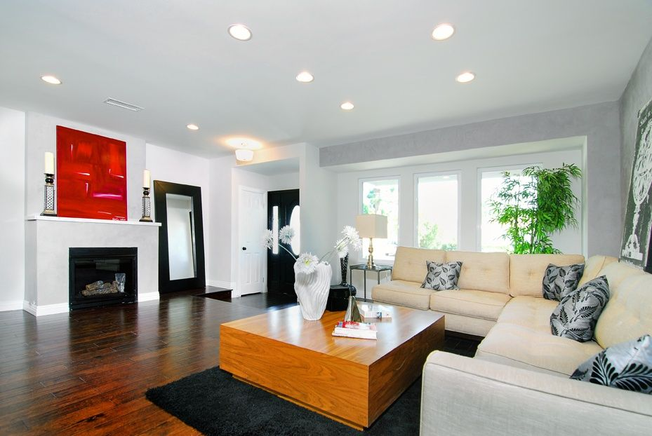 Modern Living Room with flush light, Casement, Fireplace, can lights, Standard height, Hardwood floors, Glass panel door