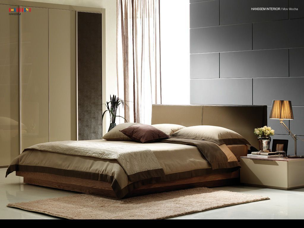 Modern Master Bedroom with Classic home jute berber 300647 beige rug, Concrete floors, Euro Platform Bed - King, Paint 1