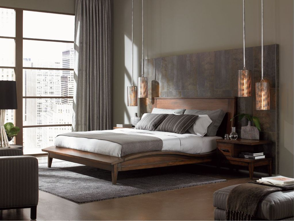 Contemporary Master Bedroom with Moroccan pin dor cylinder sconce, Paint, picture window, Concrete floors, Pendant light