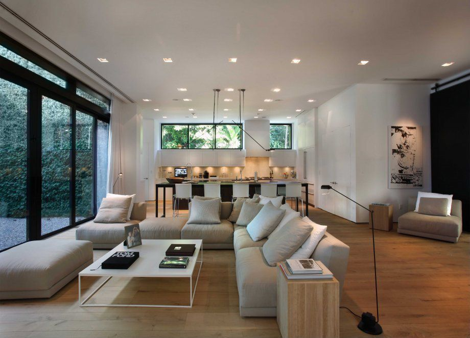 Modern Living Room with Hardwood floors, Paint, Daryl - sleek modern dining chair in white, Open concept, can lights