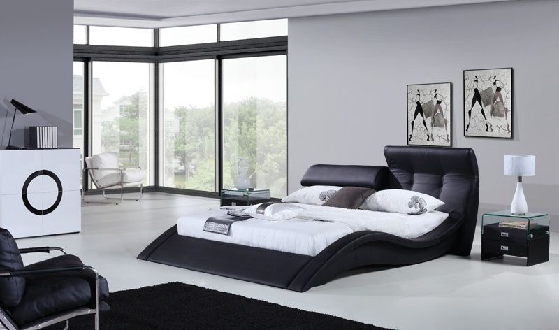 Modern Master Bedroom with Dimond lighting continuum table lamp with drum shade, Mary ann modern leather bed frame