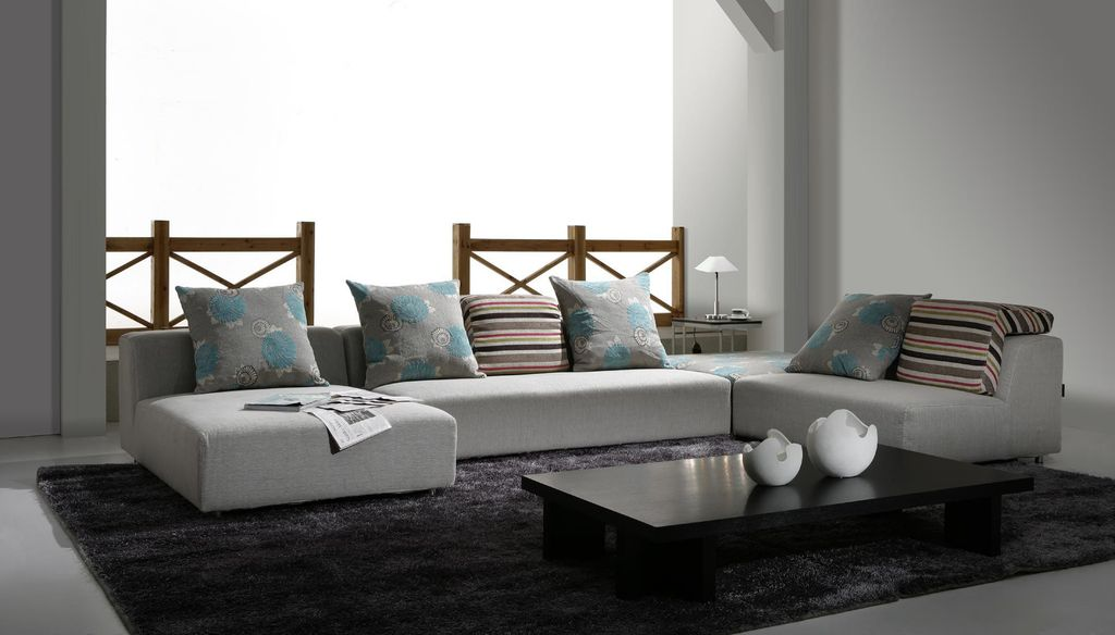 Contemporary Living Room with Standard height, Concrete floors