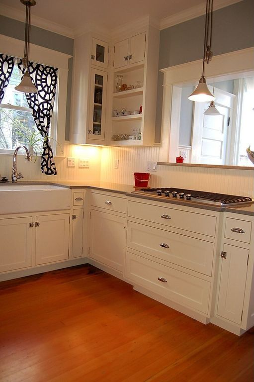 Country Kitchen with Maple Tawny Wheat 3/8 in. Thick x 4-1/4 in. Wide x Random Length Engineered Click Hardwood Flooring