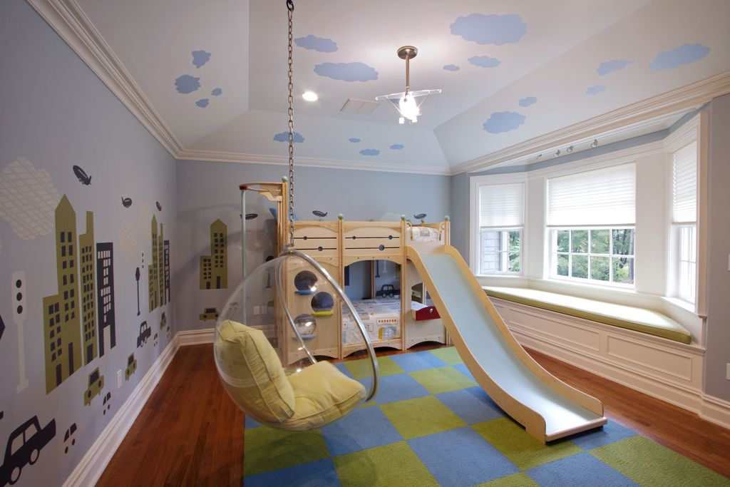 Contemporary Kids Bedroom with Paint1, Transparent hanging ball chair, Paint, Bay window, Crown molding, High ceiling, Mural
