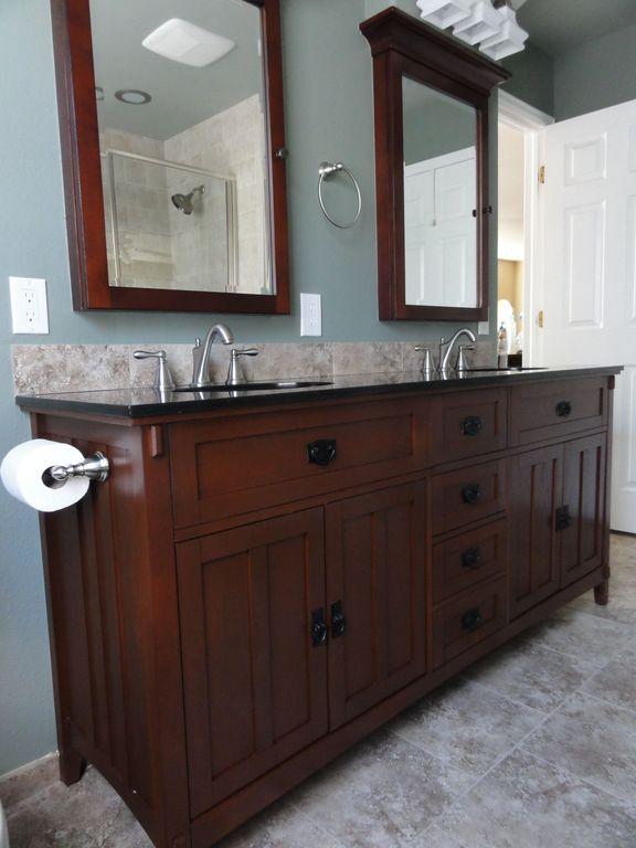 Craftsman Master Bathroom with can lights, Paint, Inset cabinets, partial backsplash, Terracotta Tile, Flat panel cabinets