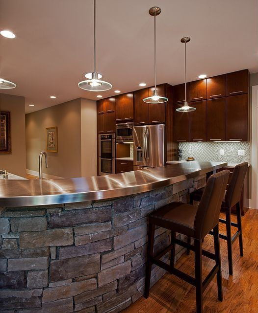 "Contemporary Kitchen with European Cabinets, Powell 30.25"" bar stool, Flush, One-wall, Breakfast bar, Pendant light, Paint"