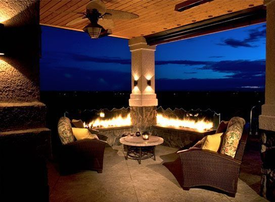 Contemporary Porch with Fire pit, Wrap around porch