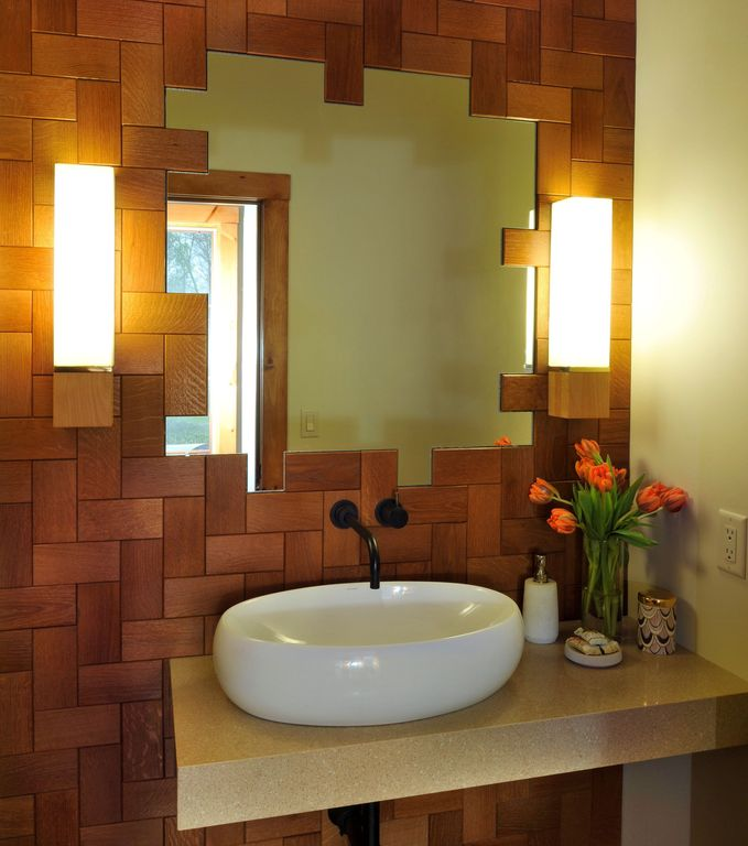 Contemporary Powder Room with Wall sconce by Beckwith Interiors Zillow Digs