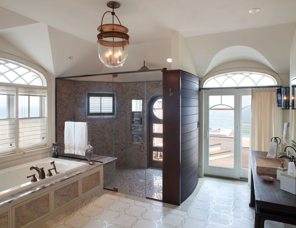 Contemporary Master Bathroom with Progress lighting  3 light foyer light, Casement, Wood counters, drop in bathtub, Paint 1