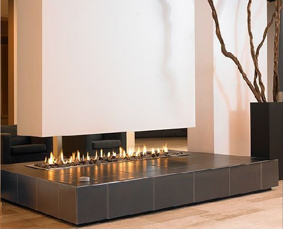 Contemporary Living Room with Fireplace, Paint 1, Modus Hanging Linefire Leatherbase fireplace
