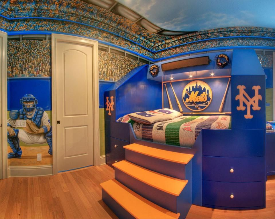 Modern kids bedroom with raised bed sports themed for Child bedroom mural ideas
