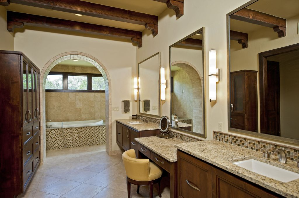 Modern Master Bathroom with Paint 1, Inset cabinets, Master bathroom, Simple granite counters, Mosaic tile, Wall sconce