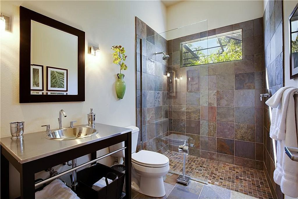 Contemporary 3/4 Bathroom with Shower, Standard height, Paint, stone tile floors, no showerdoor, Console sink, picture window