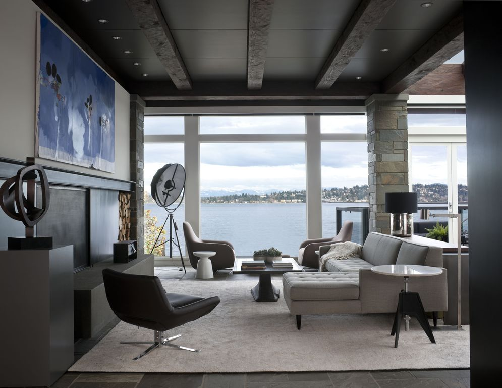 Contemporary Living Room with Paint, Ave Six Chair, can lights, Paint 2, Exposed beam, Romano Sectional, Columns