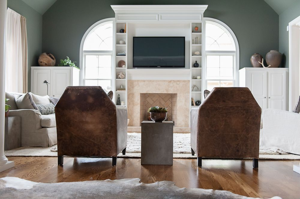 Contemporary Living Room with Standard height, West elm souk wool rug, Paint 1, Fireplace, CB2 Cement Grey Side Table
