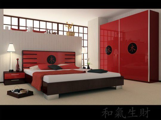 Asian Master Bedroom with Red lacquered cabinets, Red lacquered bedroom furniture, Paint 1, Rice paper window screen