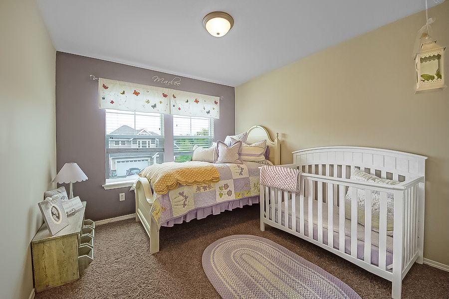 Country Kids Bedroom with Ivory wooden bed frame, Pendant light, flush light, Paint 1, Standard height, Lavender braid rug