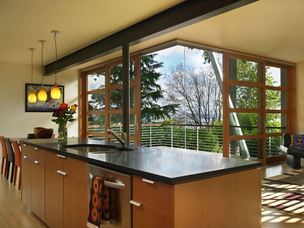 Contemporary Kitchen with Stainless undermount 2-basin sink, Pental black soapstone, Kitchen island, European Cabinets, Flush