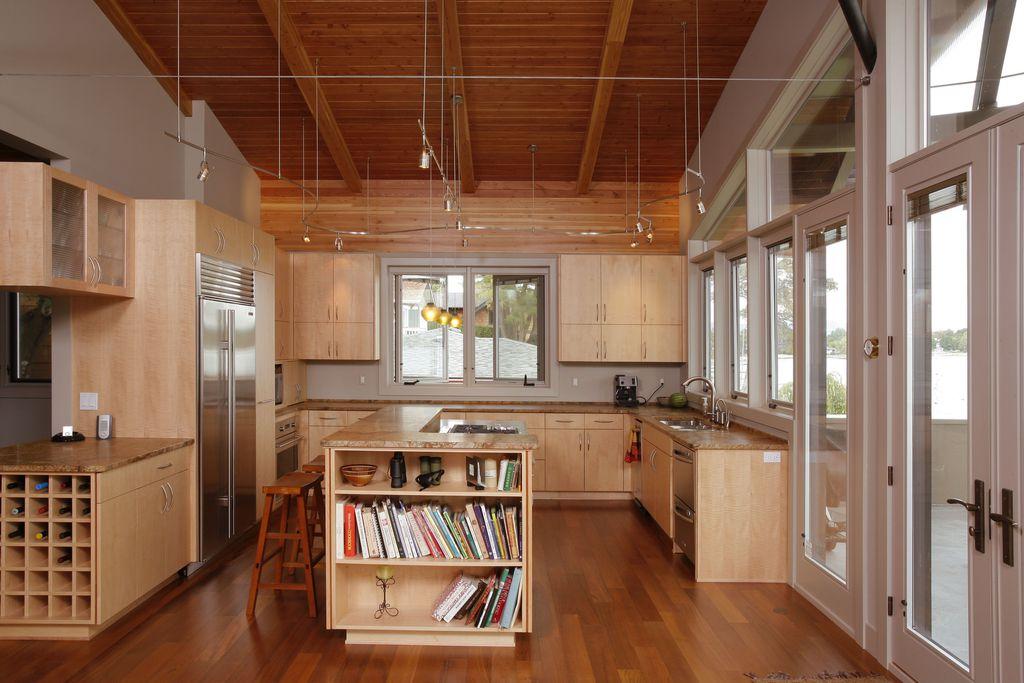 Modern Kitchen with Paint, Glass panel, Casement, U-shaped, Pendant light, Exposed beam, Target- saddle seat walnut, Flush