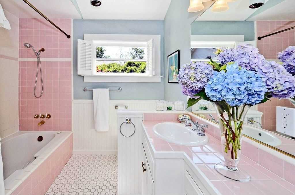 Cottage Full Bathroom with Full Bath, Standard height, Flat panel cabinets, shower bath combo, large ceramic tile counters