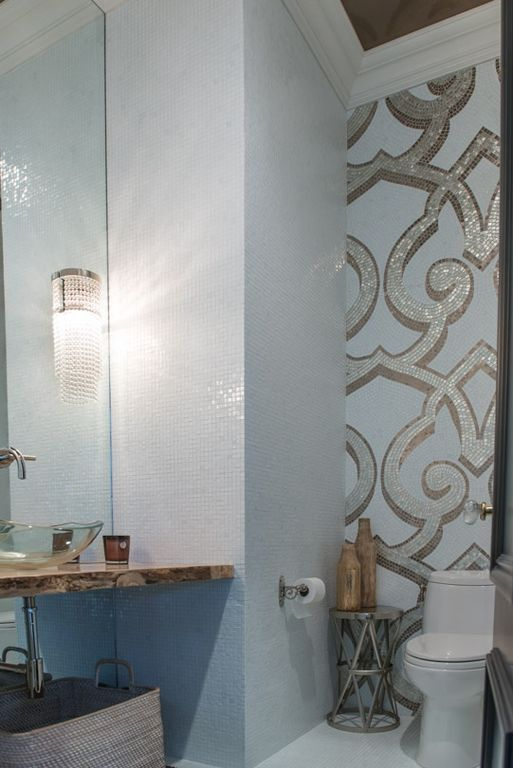 Contemporary, Crown molding, Normal (2.7m), Onyx, Powder/Half Bath, Small Ceramic or Mosaic, Specialty, Vessel