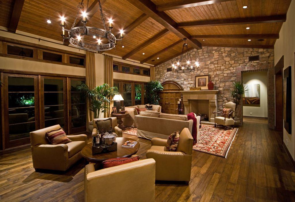Mediterranean Living Room with Steven Handleman Studios