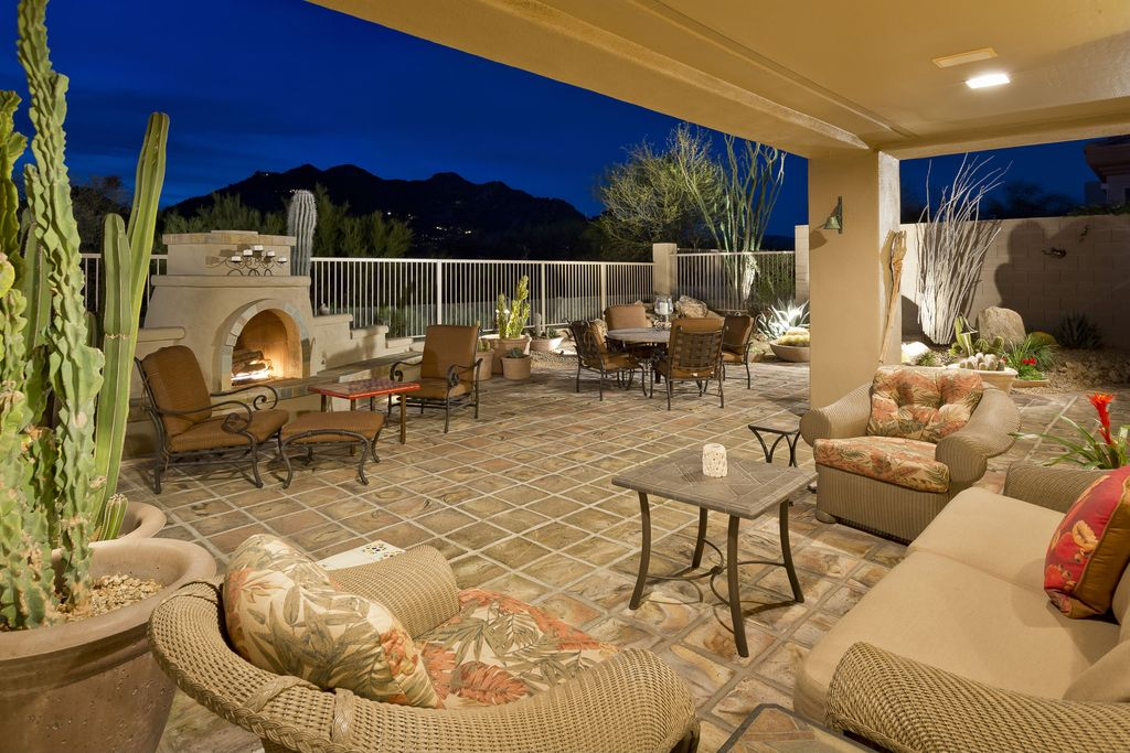 Eclectic Patio with Fence, exterior stone floors