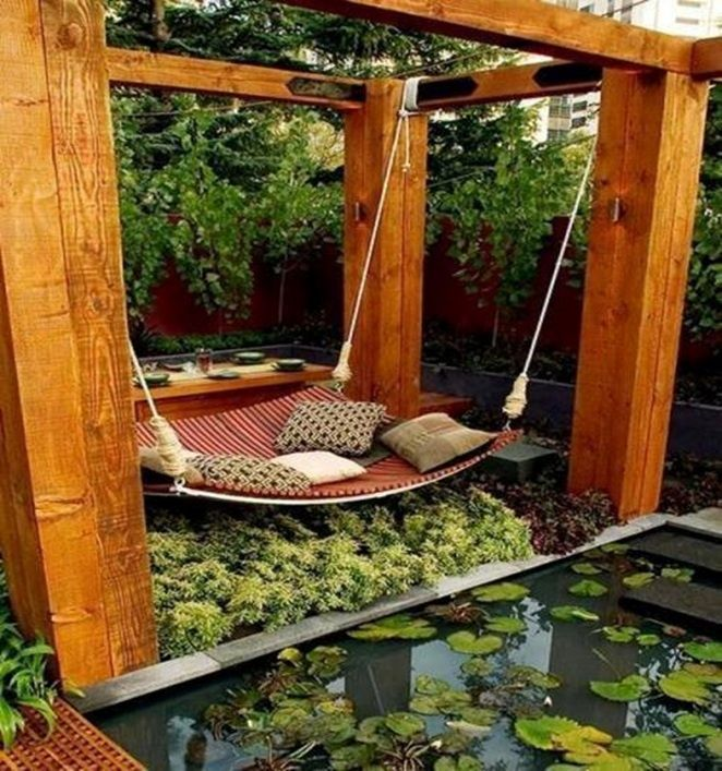 Asian Landscape/Yard with Koi pond, Garden water feature