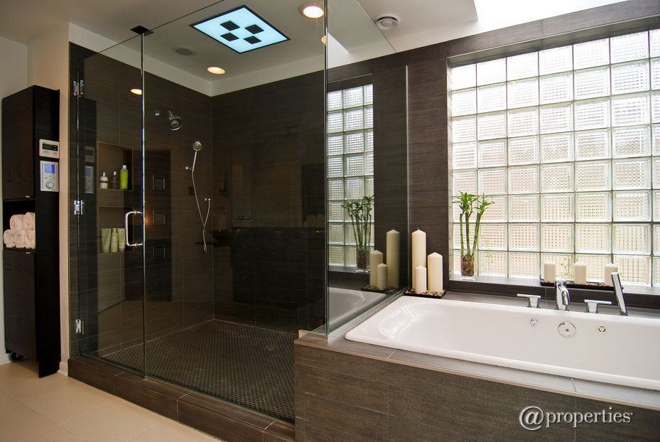 Contemporary Master Bathroom with picture window, Vinyl floors, Skylight, Master bathroom, drop in bathtub, Shower, Bathtub