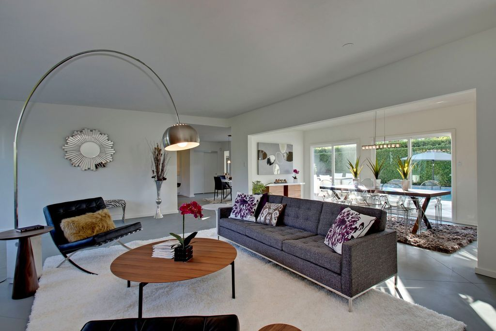 Modern Living Room with Concrete floors, Standard height