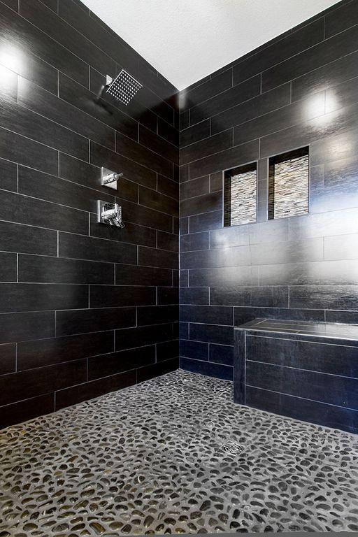 Contemporary Master Bathroom with Solistone - anatolia 12 x 12 honed black sea tile & stone 5002su, Shower bench