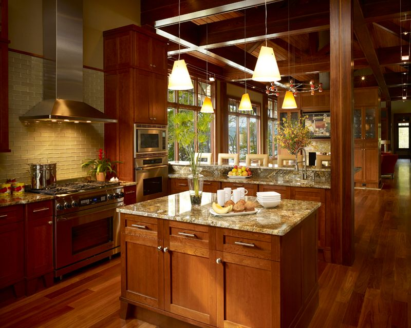 Contemporary Kitchen with Paint, Flat panel cabinets, double wall oven, gas range, Kitchen island, Casement, full backsplash