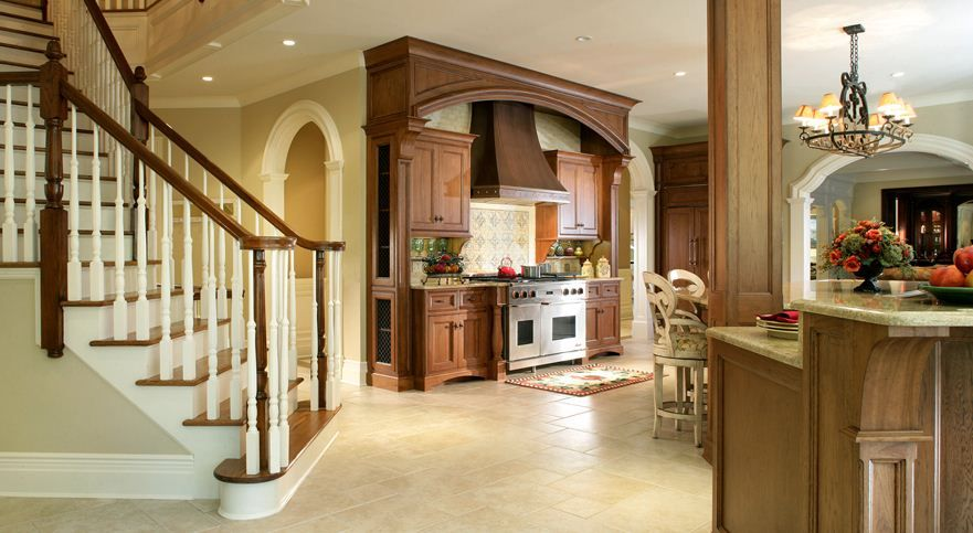 Traditional Kitchen with Paint, Tuscany beige pattern honed-unfilled-chipped travertine floor and wall tile