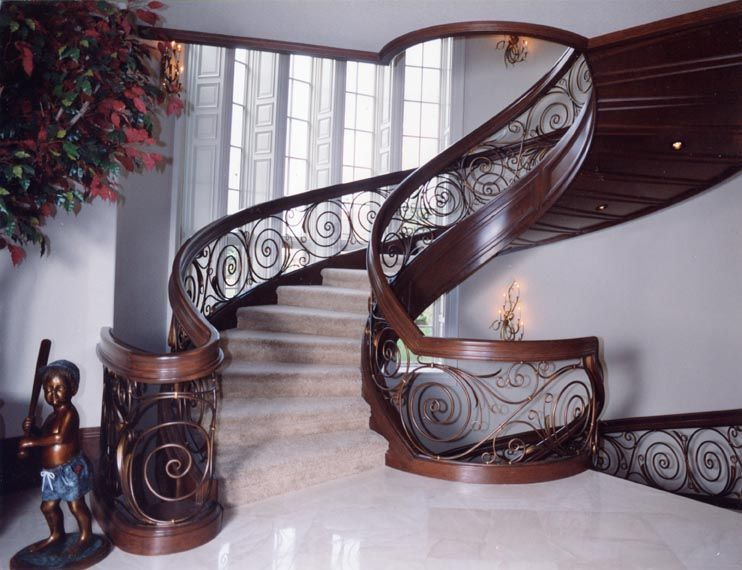Traditional Staircase with Carpet, High ceiling, Art nouveau style staircase, Wall sconce, Columns, Spiral staircase