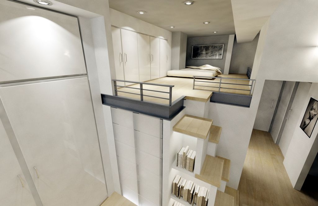 Contemporary Master Bedroom with Hardwood floors, Cathedral ceiling, can lights, Built-in bookshelf