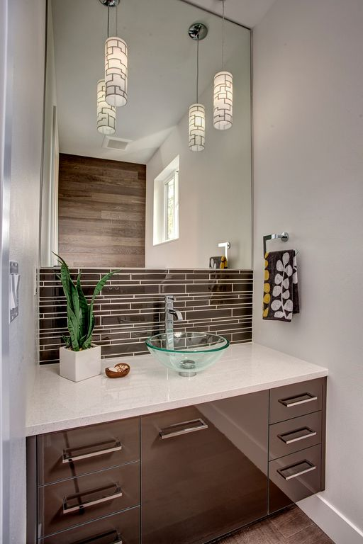 Modern Powder Room with European Cabinets by DK Wozniak Design?Build ...