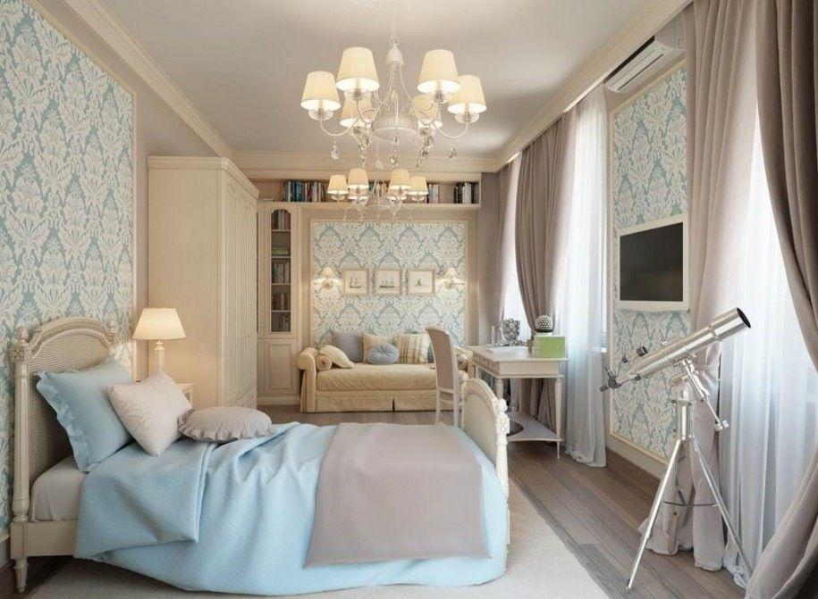 Traditional Guest Bedroom with interior wallpaper, Art desk, Chandelier, Hardwood floors, Built-in bookshelf, Standard height