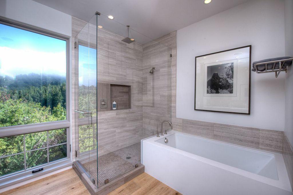 Contemporary Master Bathroom with Hardwood floors, Casement, Rain shower, Bedrosians - jura grey 1x1 mosaic honed, can lights