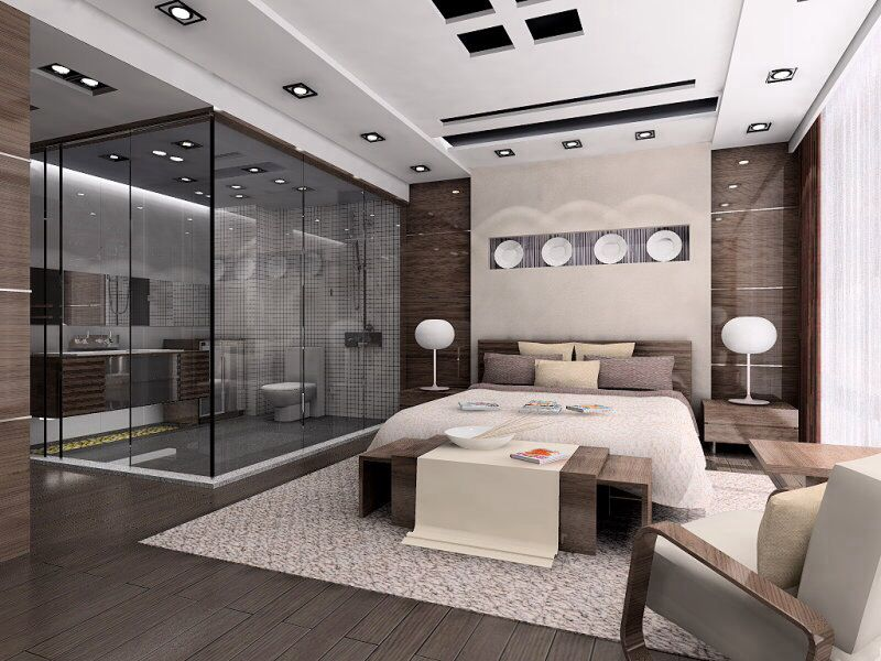 Master Bedroom with Standard height, Hardwood floors, can lights